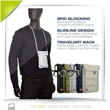 RFID Blocking Stash Neck Wallet, Travel Pouch + Passport Holder