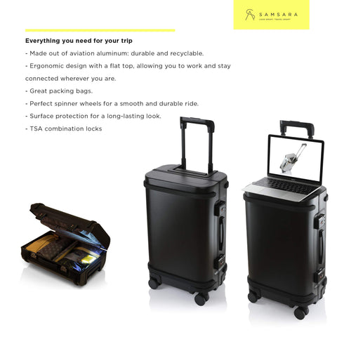 Smart Aluminum Luggage Carry On USB and App 20 Suitcase TSA Lock Matte