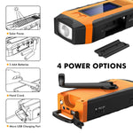 Hand Crank Radio, Solar Self Powered AM/FM/NOAA Radio with 2000mAh Rechargeable Battery, 3W Flashlight and Loudly Alarm