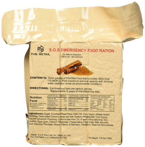 S.O.S. Rations Emergency 3600 Calorie Cinnamon Flavor Food Bar - 3 Day / 72 Hour Package with 5 Year Shelf Life
