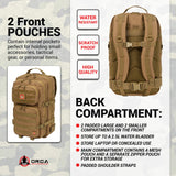 Orca Tactical Backpack - Large 40L - 3 Day Survival Bug Out Bag