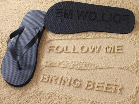 FlipSidez Womens Follow ME Bring Beer Flip Flops