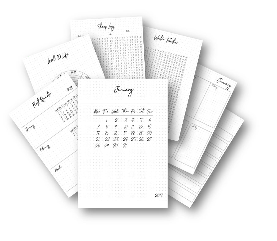 Printable templates for your bullet journal. 53 pages quarterly spread, monthly spread, weekly spread, meal planner, sleep tracker, water tracker, habit tracker and more via lillaliptak.com #bulletjournalcollection #plannerprintables #lillaliptak