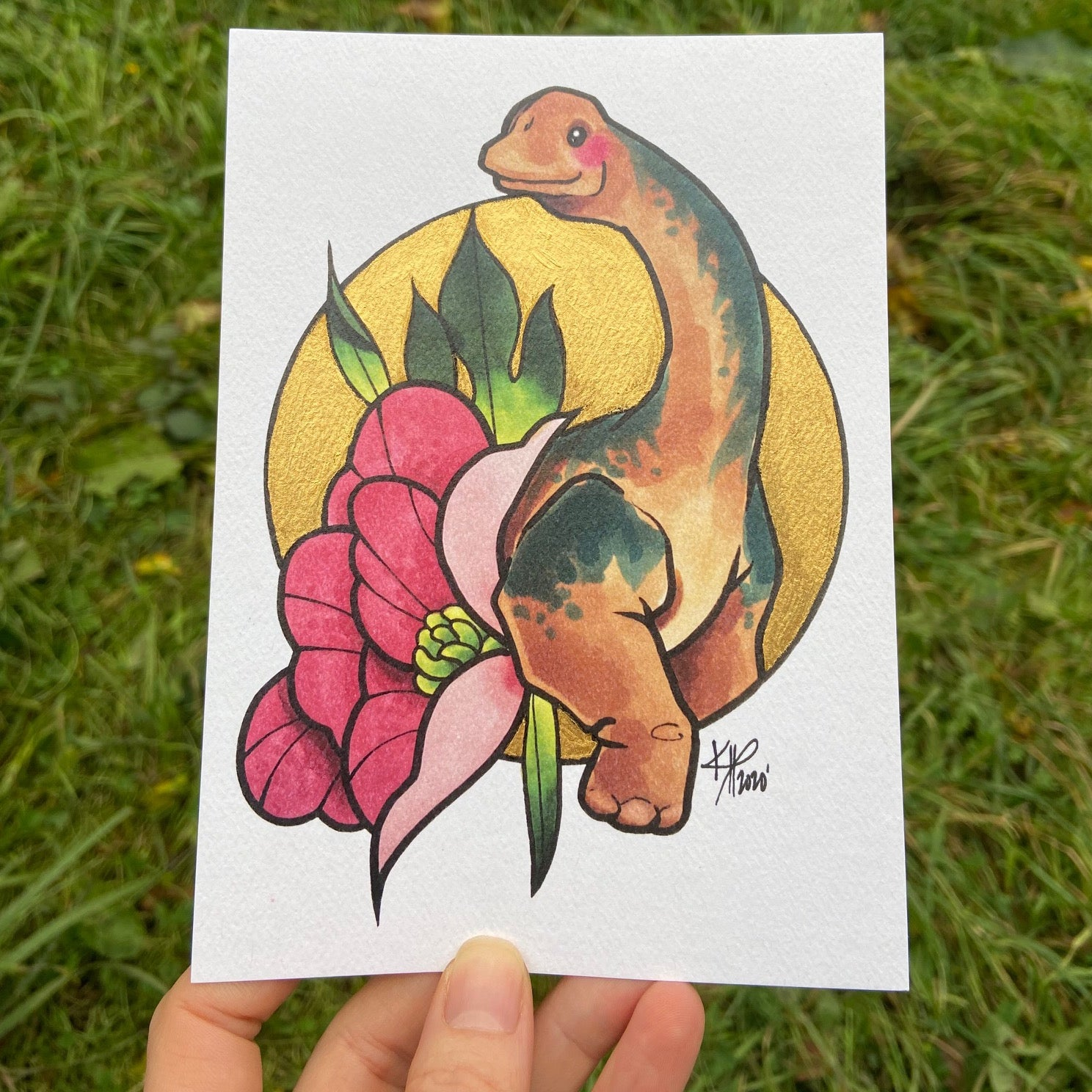 Mini Brachiosaurus Print with Hand Painted Gold Accents