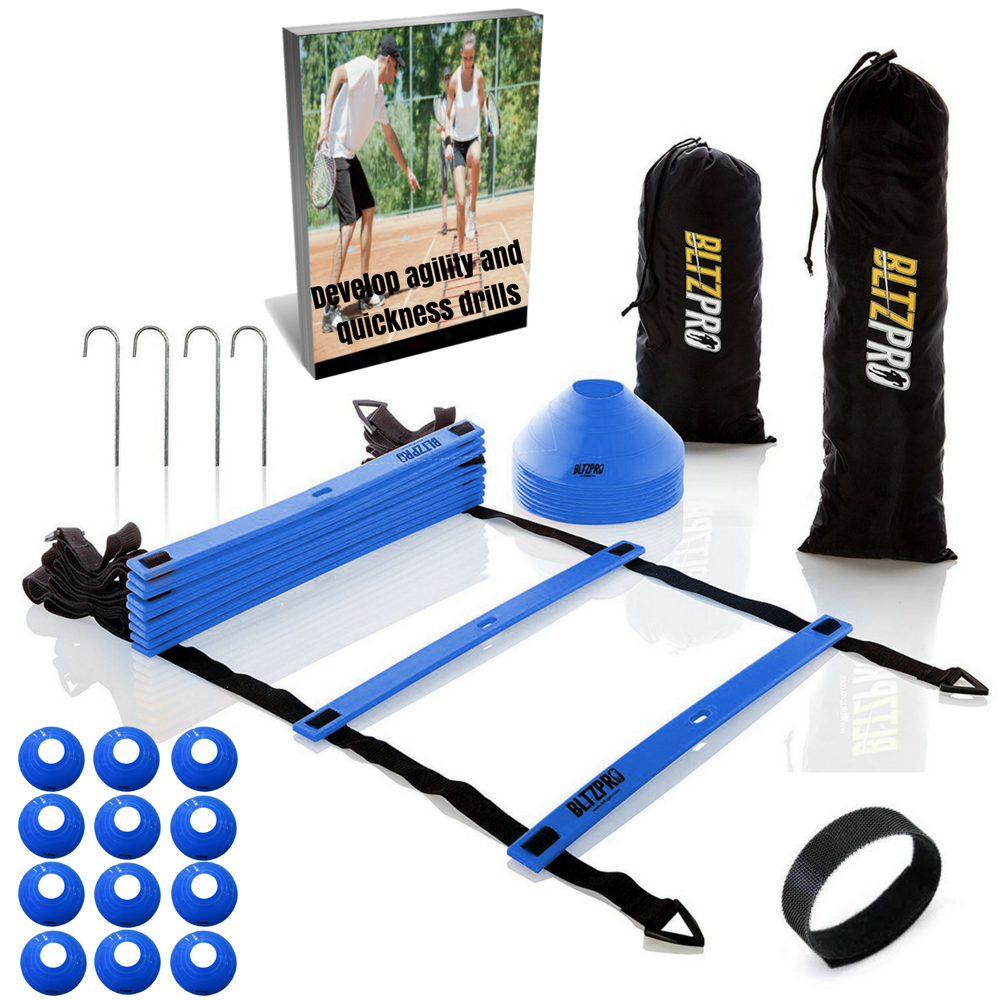 Professional Agility ladder Kit With 12 Disc Cones  15ft-Blue