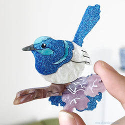 Blue Wren Brooch