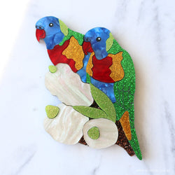 Rainbow Lorikeets Brooch