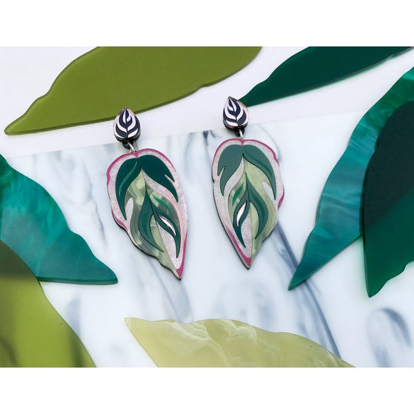 Calathea Leaf Statement Earrings - Green, Pink and Rose Gold