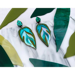 Calathea Leaf Statement Earrings - Teal, Green and Iridescent