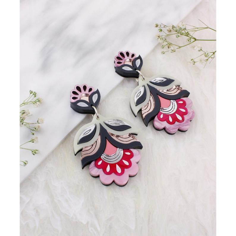 Flora Earrings - Pink