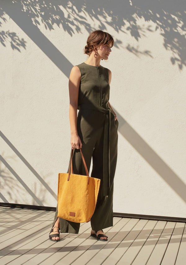 Hana Canvas Tote Bag - Tumeric