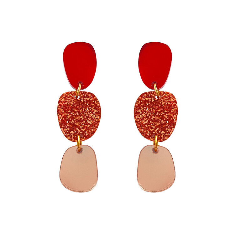 Lil Dangle Earrings - Red/Copper glitter