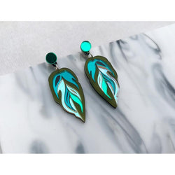 Calathea Leaf Medium Earrings - Green, Teal and Iridescent