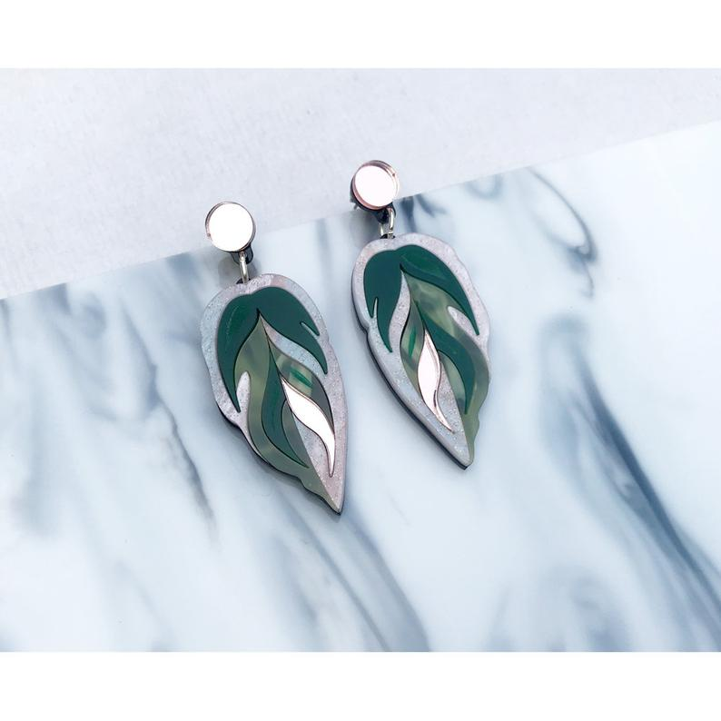 Calathea Leaf Medium Earrings - Green, Pink and Rose Gold