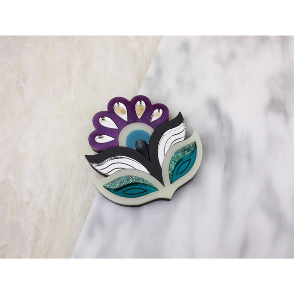 Flora Statement Brooch - Purple
