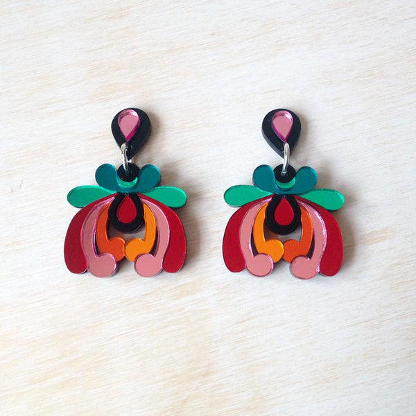 Tropical Floral Drop Earrings - Pink, Green, Red and Orange