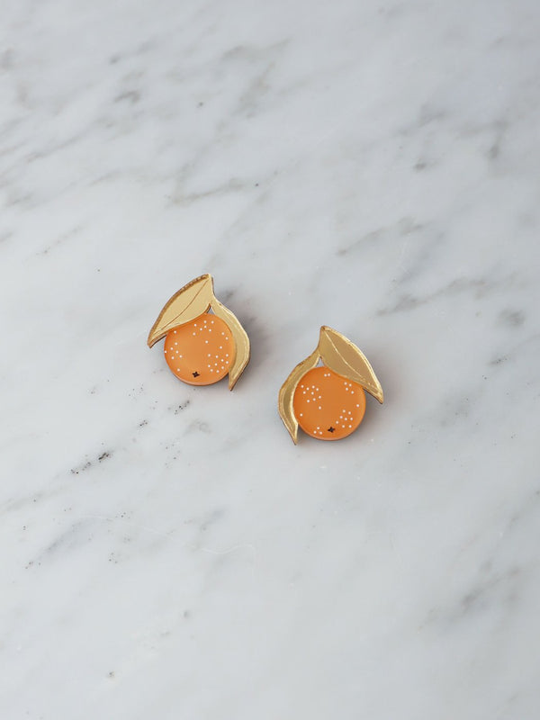 Mini Orange Stud Earrings
