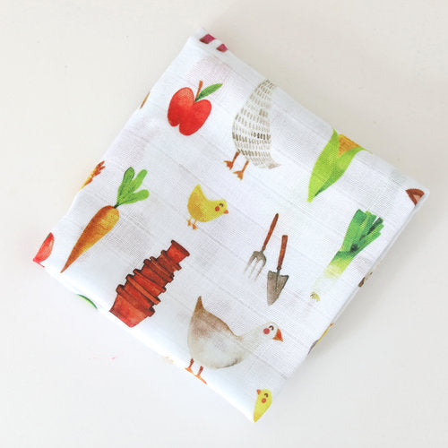 Muslin Baby Wrap - Farmyard Animals