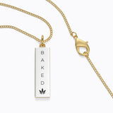 """Baked"" Rectangle Pendant Necklace"