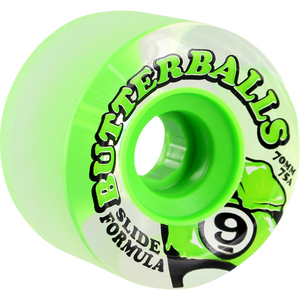 "Sector 9 Slide ""Butterballs"" Center Set Skateboard Wheels Lime 70mm 75a"