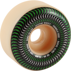 Spitfire F4 Venomous Radial Slims Skateboard Wheels Natural/Green 52mm 101A 4 Pack