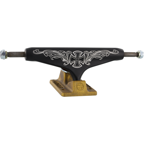Independent Stage 11 Pro Steve Caballero Trucks 149mm Flourish Black/Gold (Pair) w/Free Shortys Hardware - Feet First NJ