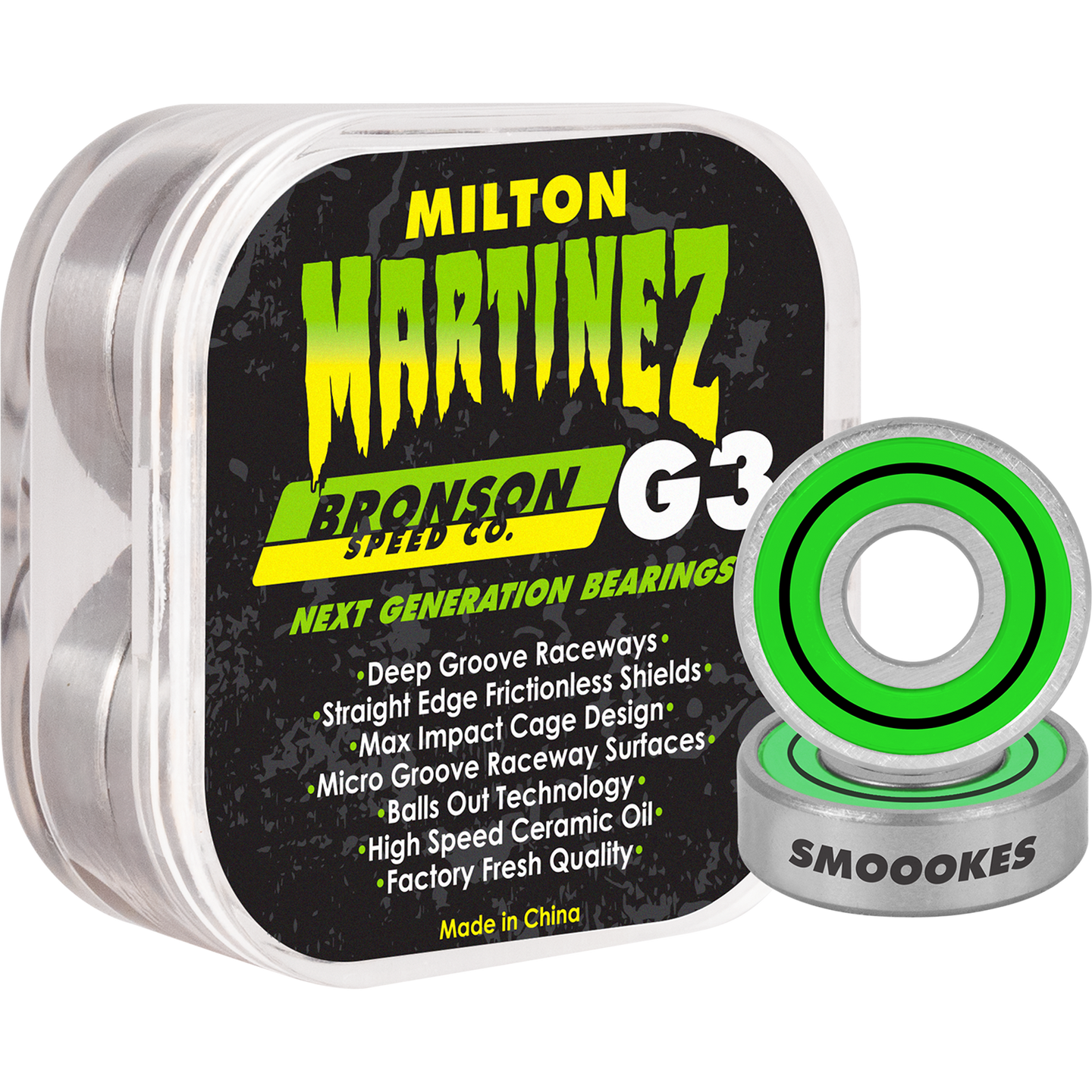 Bronson Speed Co. x Creature Milton Martinez Pro Colorway G3 Bearings 8 Pack - Feet First NJ