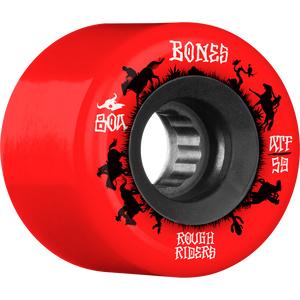 "Bones ATF Rough Rider 'Wrangler"" Skateboard Wheels 59mm 80a Red"