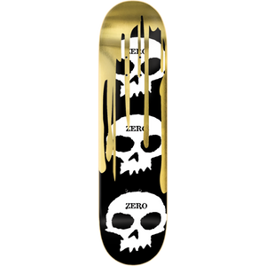 "Zero ""3 Skull with Blood"" Gold Foil Skateboard Deck 8.0"" w/Free MOB Griptape - Feet First NJ"