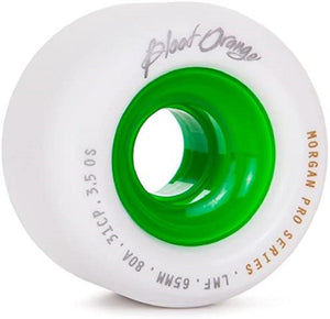Blood Orange Liam Morgan Pro Model Longboard Wheels 65mm 80a White/Green (4 Pack)