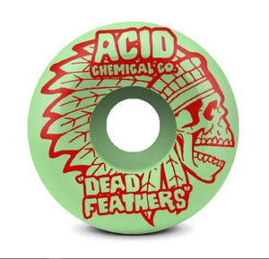 "Acid Chemical Co. ""Dead Feathers Type A Green Side Cuts 99A Wheels 4 Pack (Size 53mm)"