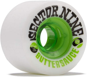 "Sector 9 ""Buttersauce"" Shredthane Skateboard Wheels 65mm 78a White/Green (4 Pack)"