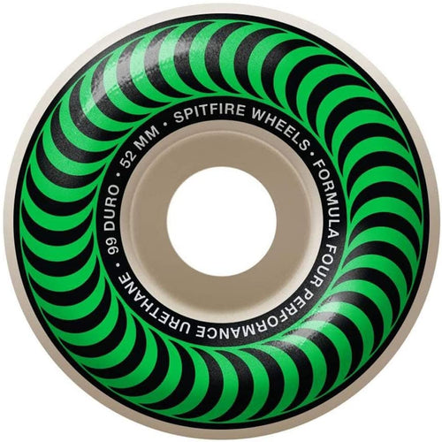 Spitfire Formula Four Skateboard Wheels Natural/Green/Silver 52mm 99DU (4 Pack)