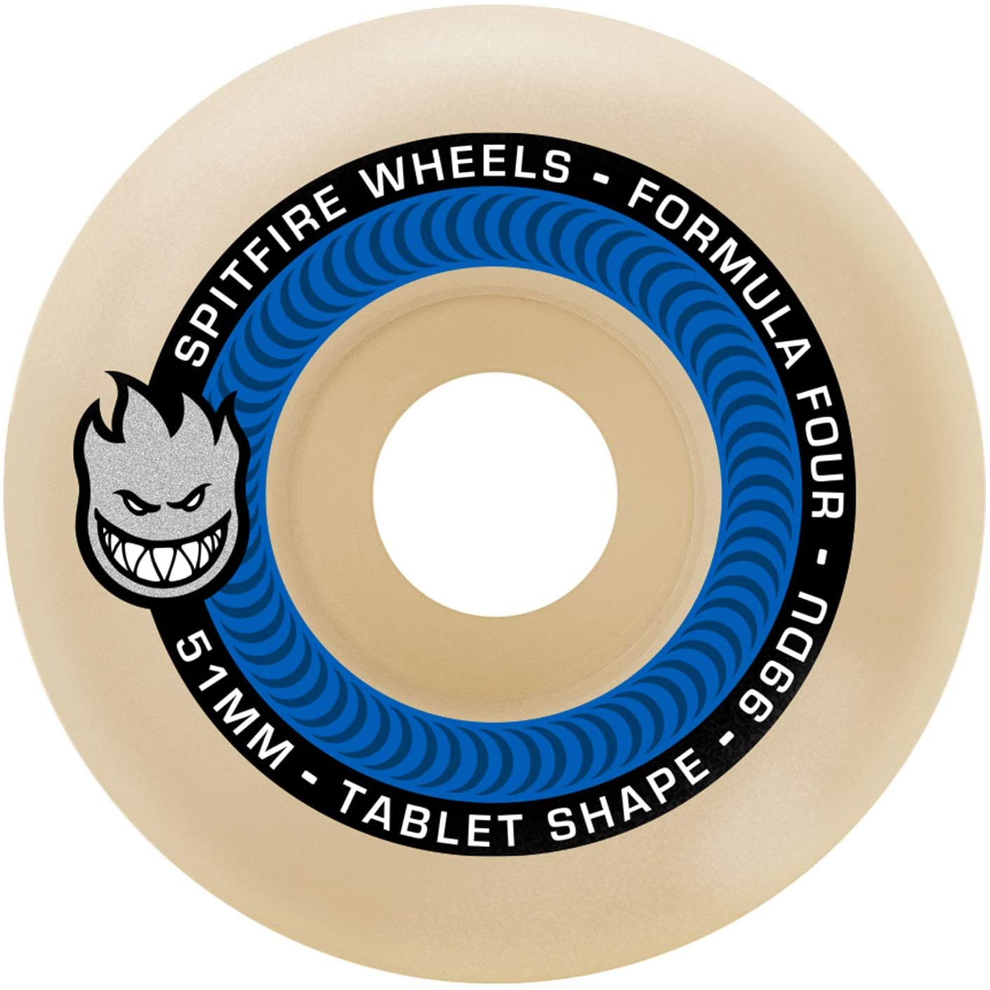 Spitfire Formula Four Tablets Skateboard Wheels Natural/Blue 52mm 99DU (4 Pack)