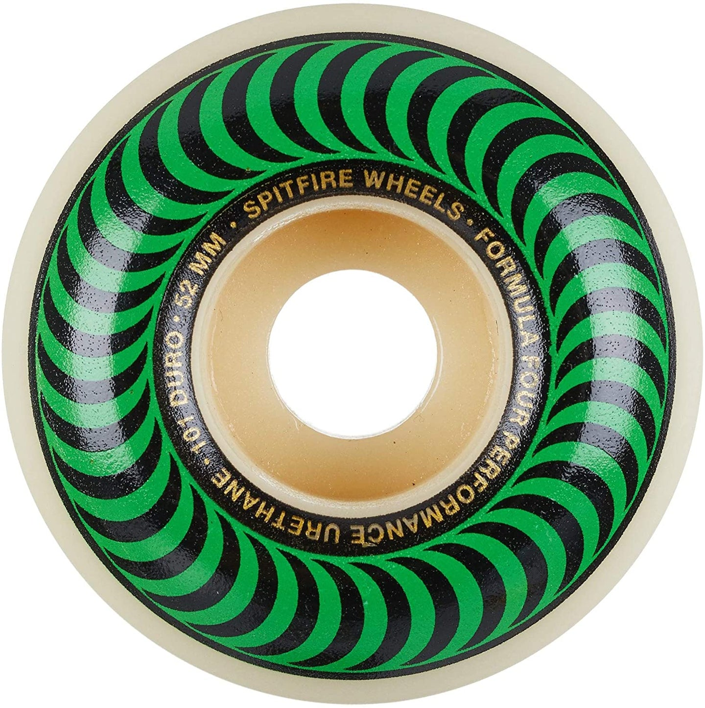 Spitfire Formula Four Skateboard Wheels Natural/Green/Gold 52mm 101DU (4 Pack)