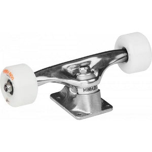 "Mini-Logo Raw Skateboard Trucks W/A-Cut 8.38"" 53mm 101A White Wheels and ML Bearings (Set of 2) w/Free Shortys Hardware"