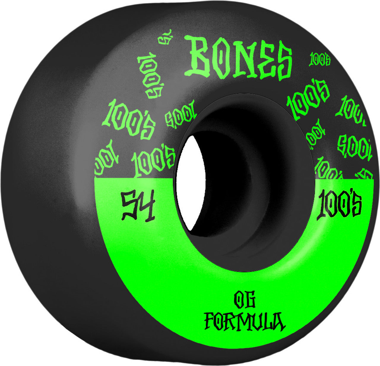 Bones 100's OG V4 #13 54mm 100A Wide Black w/ Green Wheels 4 Pack - Feet First NJ