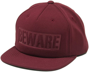 "Grizzly x Diamond Supply Co. x Starter Black Label - ""Beware"" Snapback Adjustable Hat Burgundy OSFA"