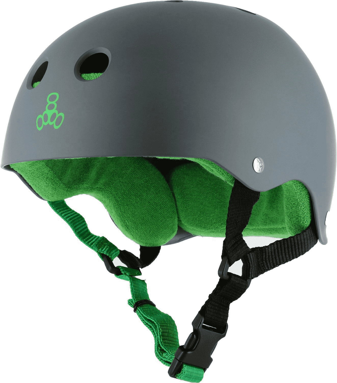 Triple 8 Brainsaver Helmet Carbon Rubber/Green - Feet First NJ