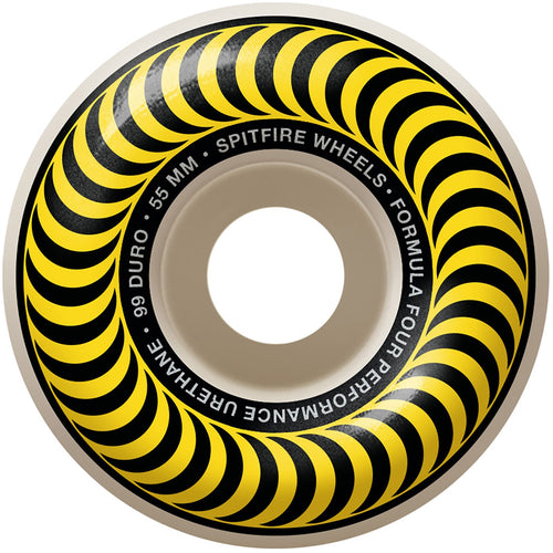 Spitfire Formula Four Classic 55mm 99DU Wheel Natural/Yellow (4 Pack)