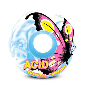 "Acid Chemical Co. Type A Sidecut ""Butterfly"" Skateboard Wheels 99a Blue/White Swirl (Set of 4)"