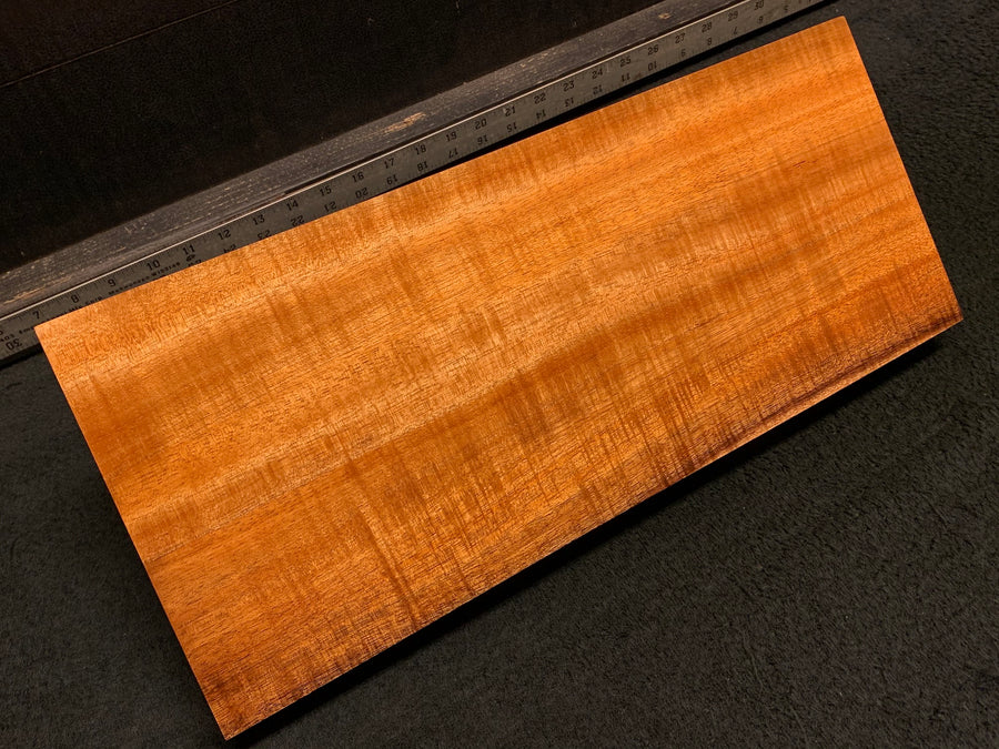"Hawaiian Curly Koa Wood Billet - 18"" x (8.125"" to 7.375"") x 1.625"" MGBCustom"
