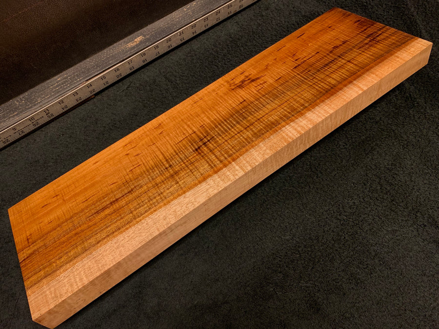 "Hawaiian Curly Koa Wood Billet - 24"" x 7.25+"" x 1.375+"""