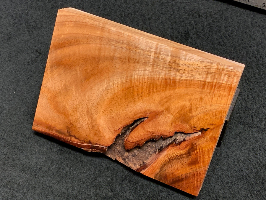 "Hawaiian Curly Koa Wood Craft and Project Blank -  7.5"" x 5.5"" x 1.125+"""