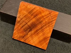 "Hawaiian Curly Koa Wood Billet -  3.75"" x 3.625"" x 0.625"""