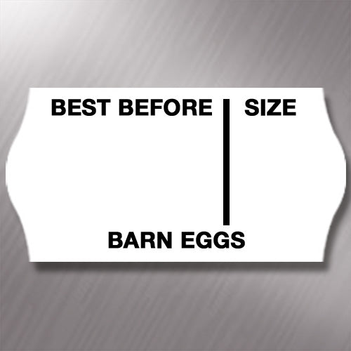 CT4 26 x 12mm Egg Labels Printed 'Barn Eggs'