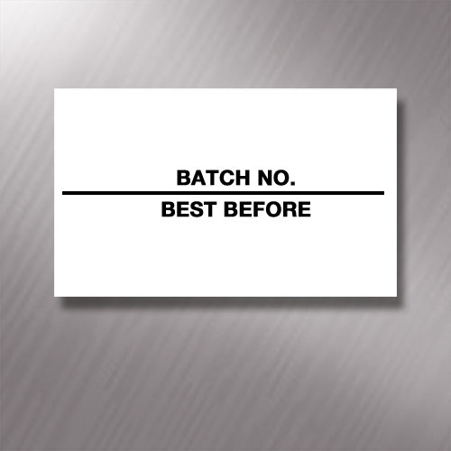 Printed CT7 'Batch No./Best Before' 26 x 16mm Price Gun Labels