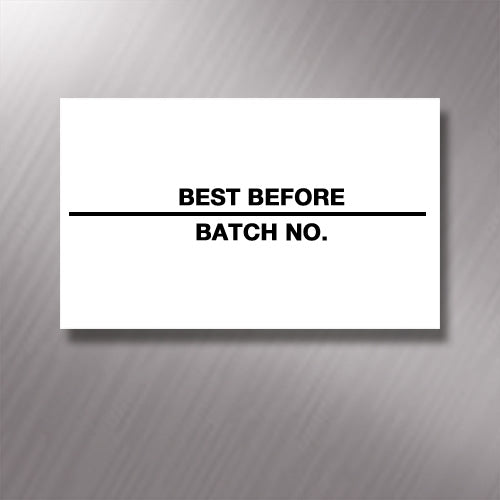 Printed CT7 'Best Before/Batch No.' 26 x 16mm Price Gun Labels