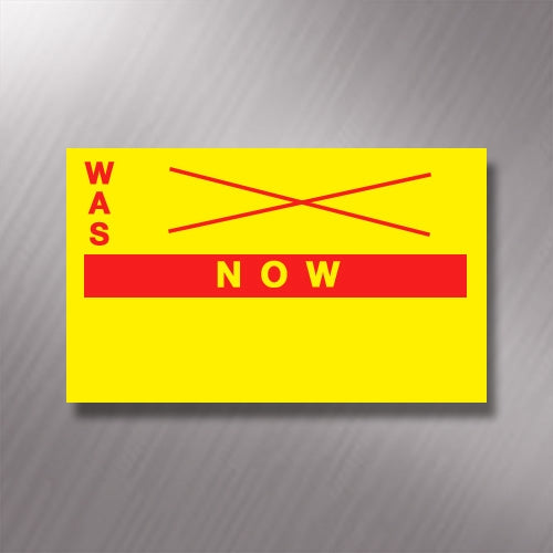 Printed CT7 Yellow 'Was / Now' 26 x 16mm Price Gun Labels