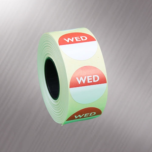 25mm Day Dot Labels - 1000 x Wednesday Labels